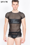 En r�sille fantaisie et faux cuir, osez le tee-shirt homme (tr�s) sexy !
