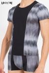 Tee shirt bicolore en lycra, assorti � la gamme de lingerie masculine Shade de Look Me.