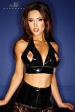 Top Bad Mary-Jane - Top dos nu en vinyle ouvert sur le bout des seins, fetish et fashion avec la chaine brillant qui court sous la poitrine.
