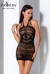 Mini robe dos nu en r�sille noire transparente enrichie de magnifiques motifs.
