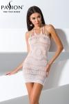 Mini robe dos nu en r�sille blanche transparente enrichie de magnifiques motifs.