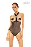 Body seins nus sexy fetish en tulle noir, avec un large harnais �lastique structur� par deux anneaux chrom�s.