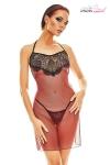 Robe transparente dos nu au corps de tulle rouge sombre rehauss� de dentelle, et son string assorti.
